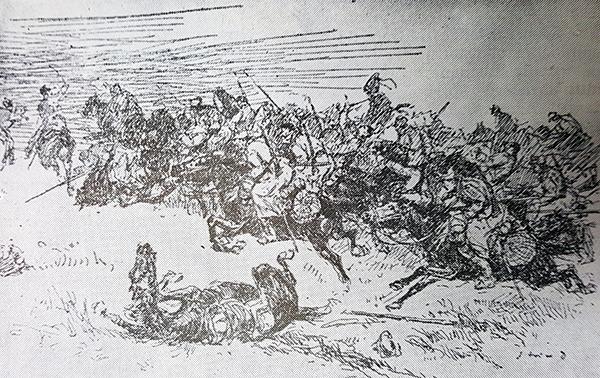 Șarjă a cavaleriei române în luptele de la Bazargic (5 - 7 septembrie 1916) – desen de D. Stoica - foto preluat de pe www.bunicutavirtuala.com