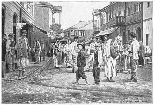 Strada principală din târgul Horezu în perioada interbelică - foto preluat de pe ro.wikipedia.org