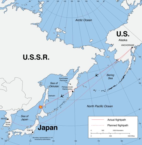 Doborârea cursei sud-coreene KAL 007 (1 septembrie 1983) - foto preluat de pe ro.wikipedia.org