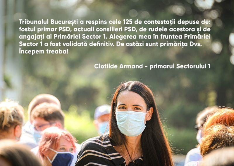 Clotilde Armand, validată definitiv în funcţia de primar al Sectorului 1 (27 octombrie 2020) - foto preluat de pe www.facebook.com/clotildearmand.ro