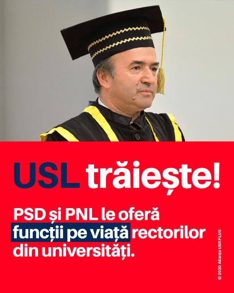 """PSD și PNL le oferă """"funcții pe viață"""" rectorilor din universități - foto preluat de pe www.facebook.com/USRNational"""