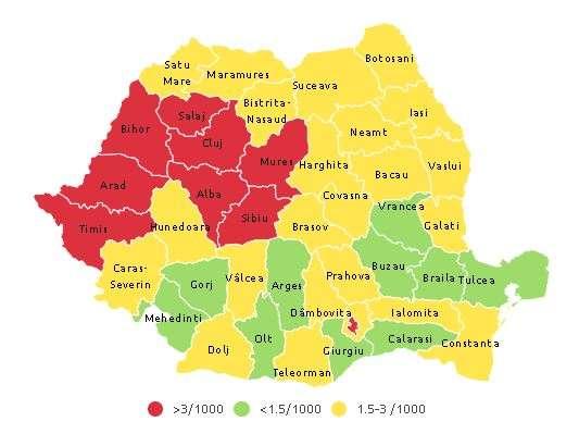 Incidenţa cumulată a cazurilor de infectare cu noul coronavirus calculată în ultimele 14 zile (1 noiembrie) - foto preluat de pe www.agerpres.ro
