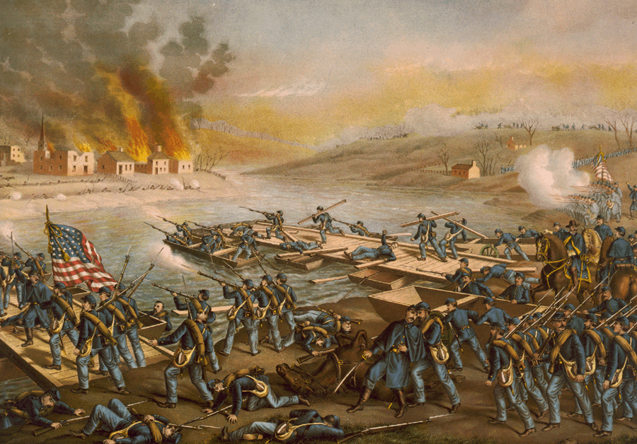 Bătălia de la Fredericksburg (11–15 decembrie 1862) the Army of the Potomac crossing the Rappahannock River in the morning of December 13, 1862, by Kurz and Allison (1888) - foto preluat de pe ro.wikipedia.org