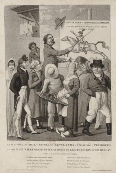Contemporary print advertising the Peace of Pressburg (26/27 December 1805) - foto preluat de pe en.wikipedia.org