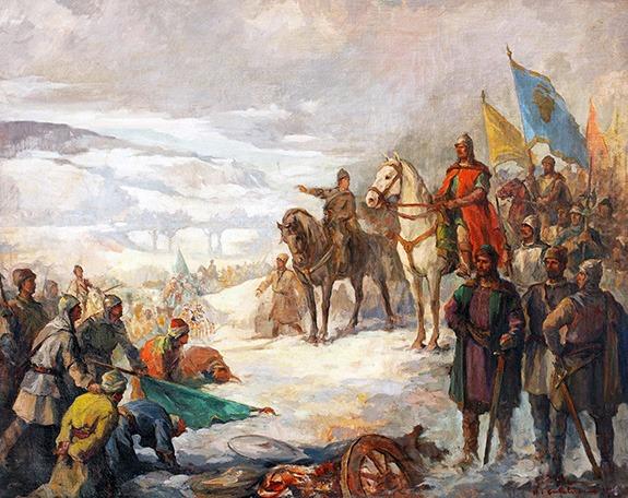 Ștefan cel Mare în Bătălia de la Vaslui/Podul Înalt (10 ianuarie 1475) Pictură de Honorius Crețulescu - foto preluat de pe www.bunicutavirtuala.com