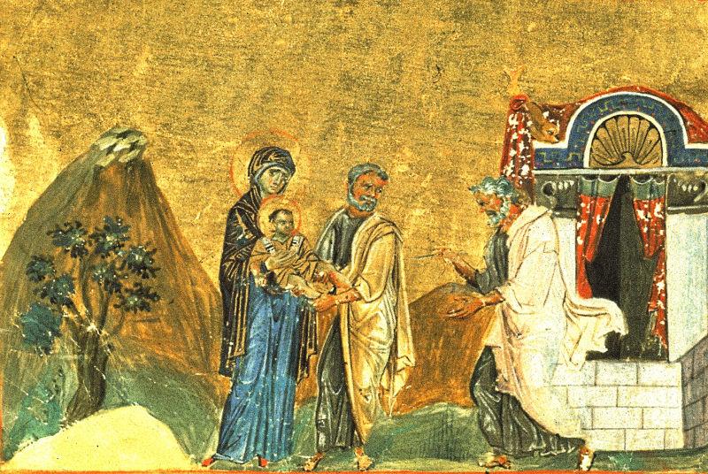 Tăierea împrejur cea după trup a Domnului - miniatură din Menologul lui Vasile al II-lea al Bizanţului, 979-984 - foto preluat de pe ro.wikipedia.org