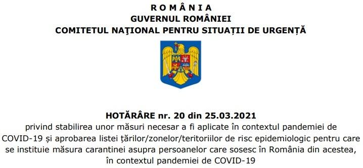 HOTĂRÂRE nr. 20 din 25.03.2021 a CNSU - foto preluat de pe rohealthreview.ro