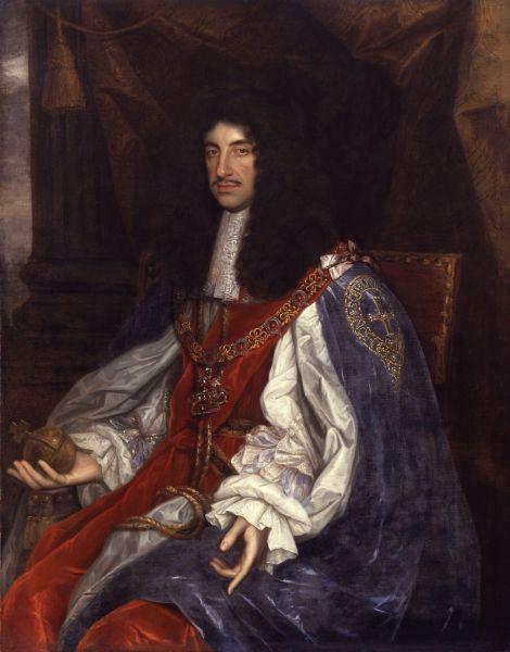Carol al II-lea (engleză Charles II of England) (n. 29 mai 1630 - d. 6 februarie 1685) a fost rege al Angliei, Scoției și Irlandei de la 30 ianuarie 1649 (de jure) sau de la 29 mai 1660 (de facto), până la moarte - Charles in Garter robes by John Michael Wright or studio, c. 1660–1665 - foto preluat de pe en.wikipedia.org