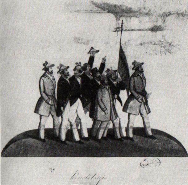 Grupul de manifestanţi pentru revoluţie la 1848 - de Costache Petrescu - foto preluat de pe ro.wikipedia.org