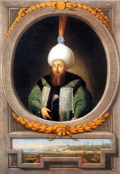 Selim al III-lea (n. 24 decembrie 1761, Constantinopol, Imperiul Otoman – d. 29 iulie 1808, Constantinopol, Imperiul Otoman) a fost sultanul Imperiului Otoman în perioada 7 aprilie 1789 – 29 mai 1807 - Portrait by Konstantin Kapıdağlı, c. 1804-1806 - foto preluat de pe ro.wikipedia.org